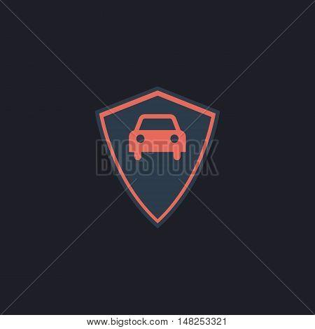 Car guard Color vector icon on dark background