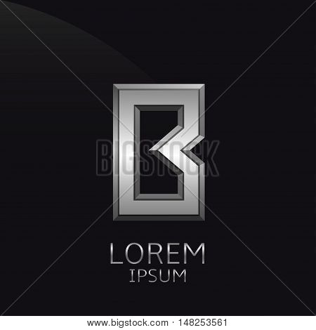 Silver B Letter emblem. Business logo template