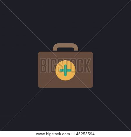 first aid kit Color vector icon on dark background