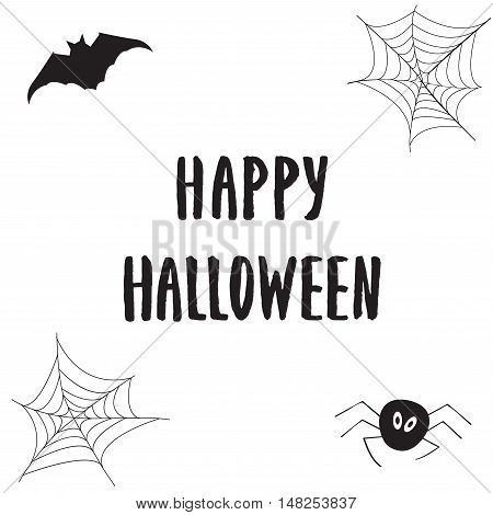 Happy Halloween poster greeting card with modern brush calligraphy hand drawn lettering and holidays elements - web, spider, pumpkin fangs. Halloween postcards, covers, tags, icons set and more.