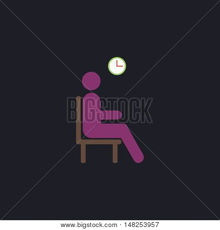 Waiting Color vector icon on dark background
