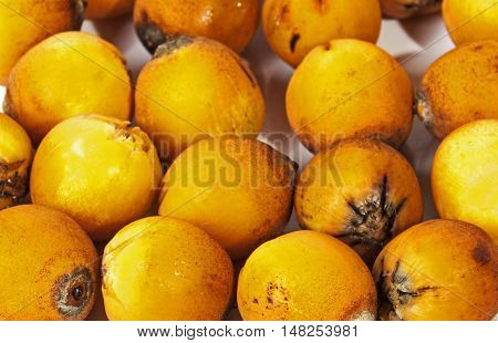 Close Up  Collection Of Natural Ripe Orange Palm Dates