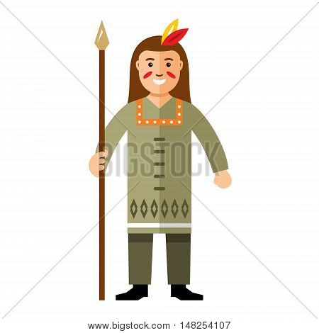 Warrior with lance. Isolated on a white background