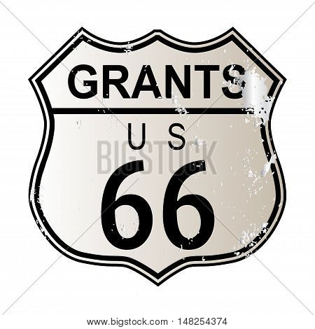 Grants Route 66 traffic sign over a white background and the legend ROUTE US 66