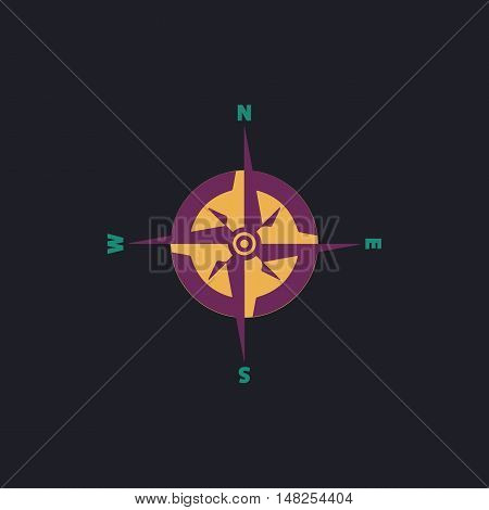 Compass Color vector icon on dark background
