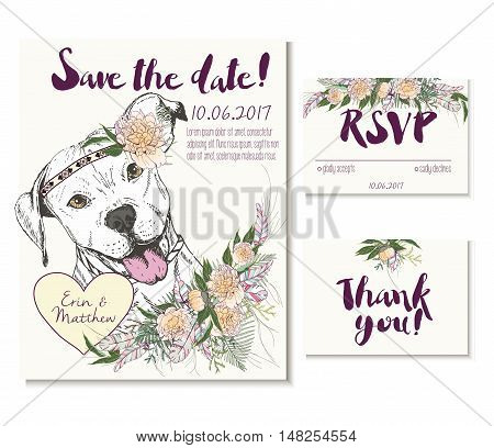 Vedding card set in trendy boho style. Pitbull dog wearing the flower crown and heart coulomb. Decorated with floral bouquet and feathers. Includes save the date rsvp and thank you cards templates.