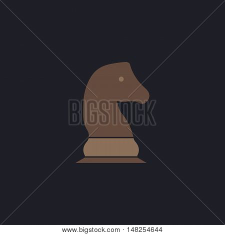 Chess knight Color vector icon on dark background