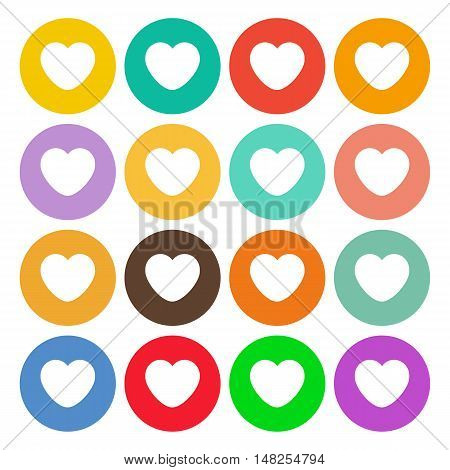 Hearts icons. Flat stile. 16 icons different colors