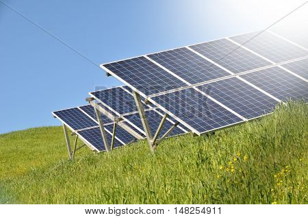 solar panels in the meadow in countryside