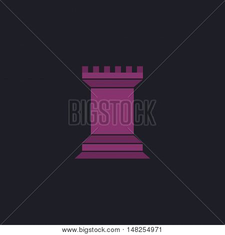 Chess Rook Color vector icon on dark background