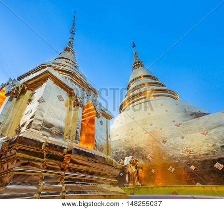 Golden Chedi Of The Wat Phra Singh, Chiang Mai, Thailand