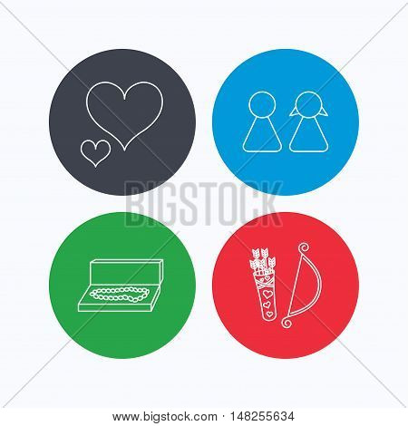 Love heart, jewelry and couple icons. Valentine amour arrows linear signs. Linear icons on colored buttons. Flat web symbols. Vector