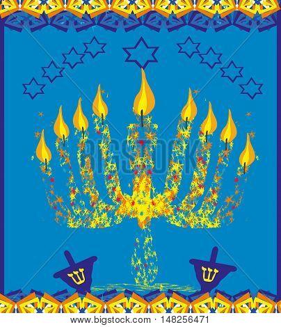 hanukkah menorah abstract card , vector illustration