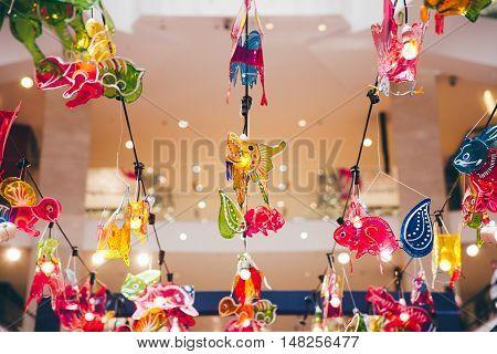 KUALA LUMPUR, MALAYISA - SEPTEMBER 14: Lantern decorations in the mall during Mid-Autumn Festival aka Moon Cake Festival celebrations on September 14, 2016 in Kuala Lumpur Malaysia.