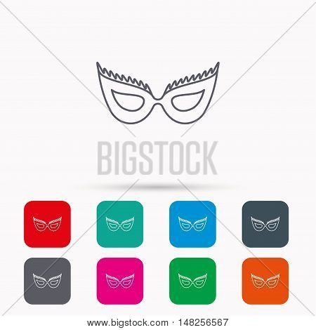 Festive mask icon. Masquerade carnival sign. Anonymous symbol. Linear icons in squares on white background. Flat web symbols. Vector