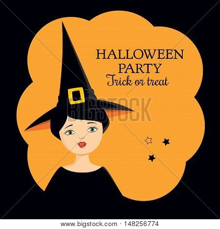 Invitation to Halloween party. Colorful vector illustration of a girl in a witch costume making funny grimace, showing her tongue. Square format, orange background.