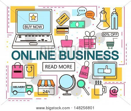 Online Business. E-Commerce and Online Shopping. Internet and mobile marketing concept. For web and mobile phone services and apps.Vector Line Illustration.