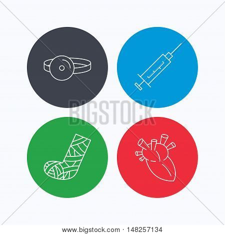 Syringe, heart and gypsum icons. Medical mirror linear sign. Linear icons on colored buttons. Flat web symbols. Vector
