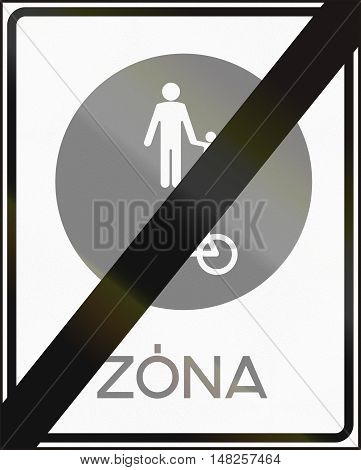 Road Sign Used In Hungary - End Of Pedestrian And Cyclists Zone