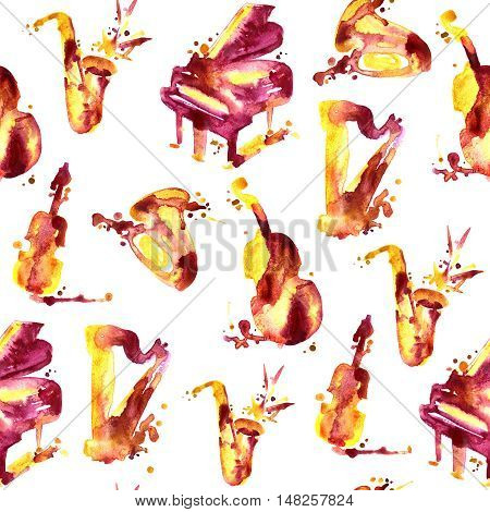 Cartoon hand drawn watercolor llustration. Seamless pattern
