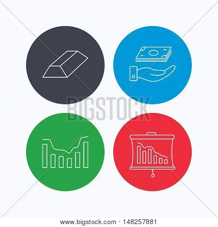 Save money, dynamics chart and statistics icons. Gold bar linear sign. Linear icons on colored buttons. Flat web symbols. Vector