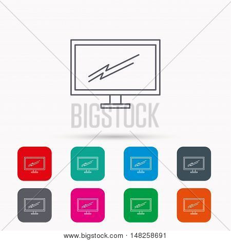 PC monitor icon. Led TV sign. Widescreen display symbol. Linear icons in squares on white background. Flat web symbols. Vector