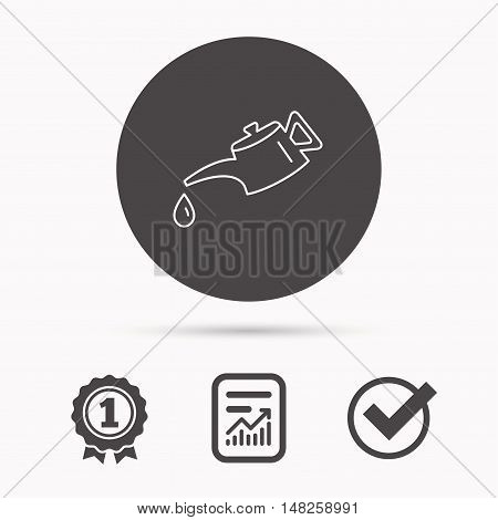 Motor oil icon. Fuel can with drop sign. Report document, winner award and tick. Round circle button with icon. Vector