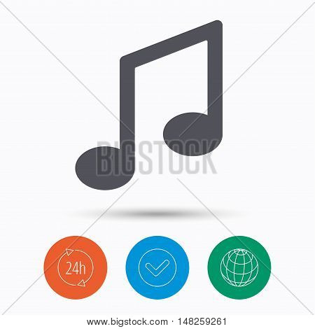 Music icon. Musical note sign. Melody symbol. Check tick, 24 hours service and internet globe. Linear icons on white background. Vector