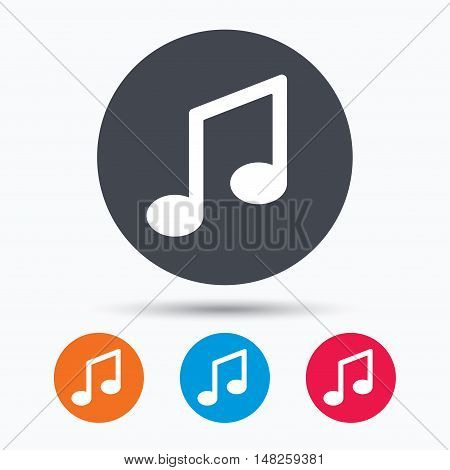 Music icon. Musical note sign. Melody symbol. Colored circle buttons with flat web icon. Vector