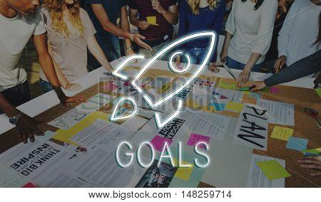 Business Startup Goals Rocketship Graphic Concept