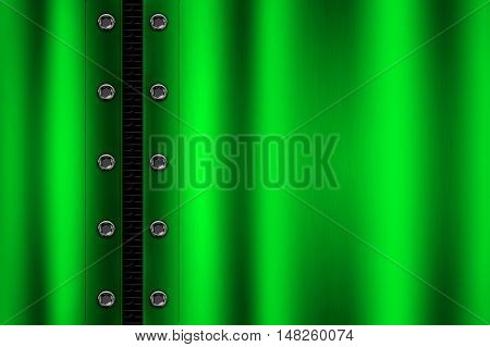 green metal background with rivet on gray metallic mesh. background and texture 3d illustration.