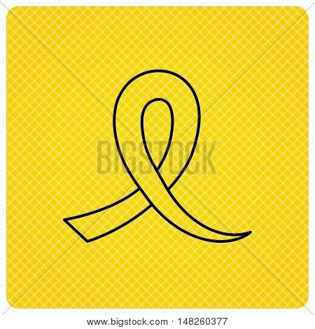 Awareness ribbon icon. Oncology sign. Linear icon on orange background. Vector
