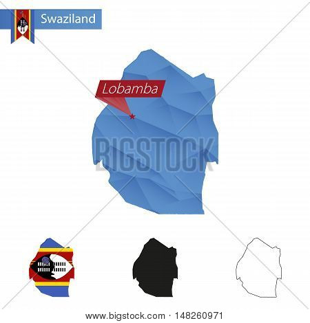 Swaziland Blue Low Poly Map With Capital  Lobamba.