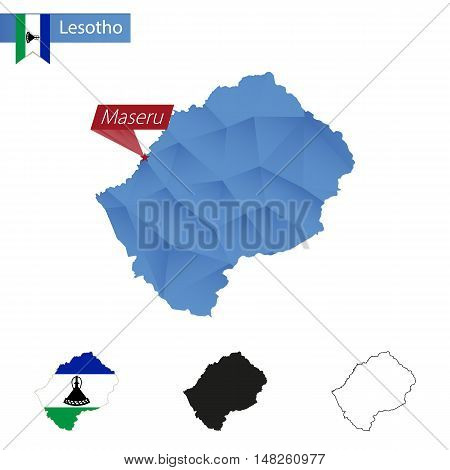Lesotho Blue Low Poly Map With Capital Maseru.