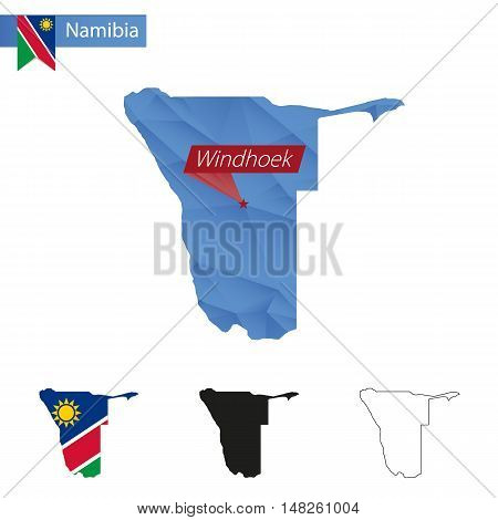 Namibia Blue Low Poly Map With Capital Windhoek.