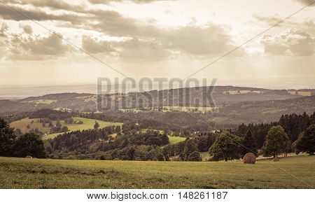Vintage dreamy panorama with gold cloudy sky mountains on horizon and framed by trees, copyspace