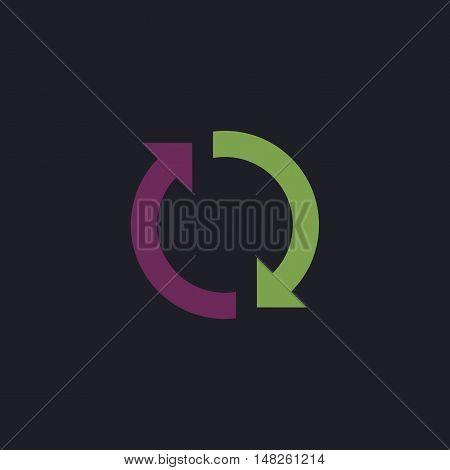 rotation arrows Color vector icon on dark background