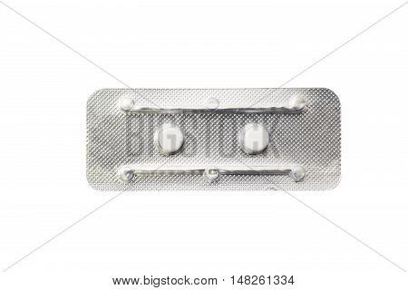 Contraceptive pill ,or morning after pill on white background with clipping path