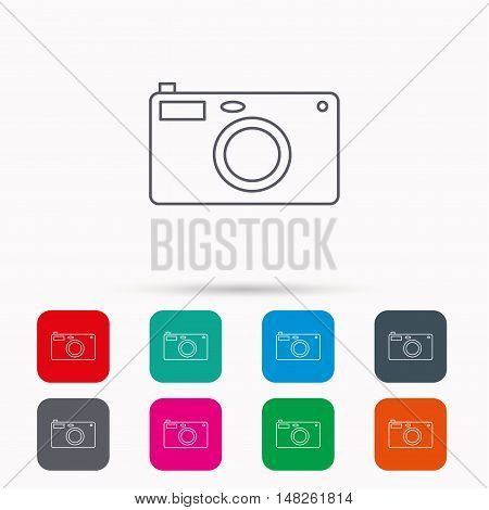 Photo camera icon. Photographer equipment sign. Linear icons in squares on white background. Flat web symbols. Vector