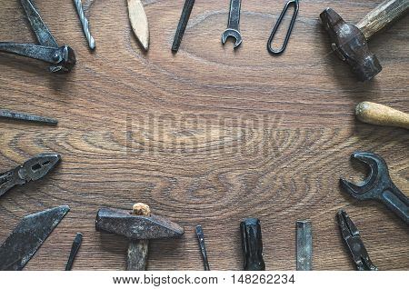 Vintage Tools On Wooden Background. Fathers Day Card.