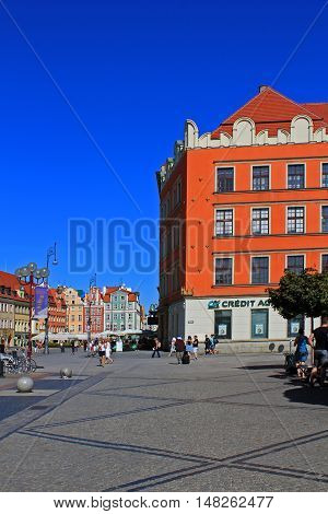 Old Historical architecture in Wroclaw City Centre Old Town.