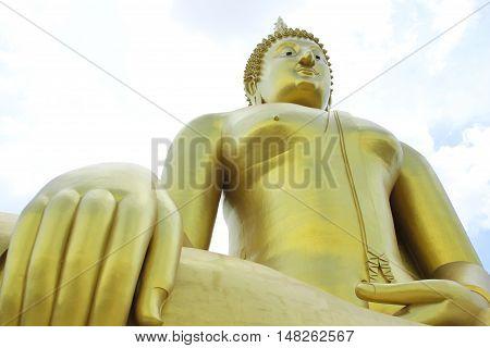 Big golden and art of buddha at Wat muang Angthong province Thailand