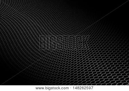 curve metallic mesh on black background. monochrome color. for web or printing background design. 3d illustration.