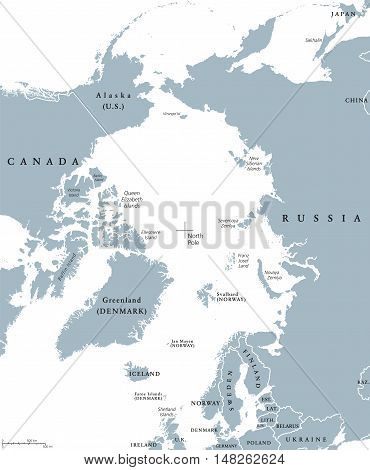 Arctic region countries and North Pole political map with national borders and country names. Arctic ocean without sea ice. English labeling and scaling. Illustration.