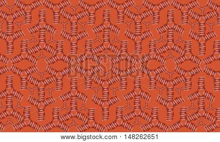 Patern of sausage design on orange background