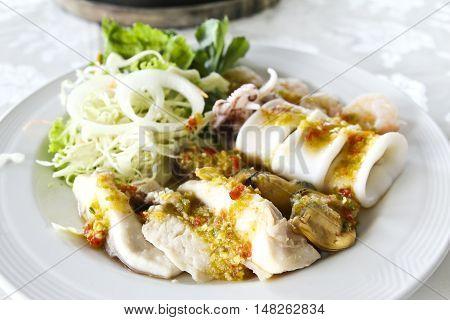 Closeup of Spicy seafood salad Thai food