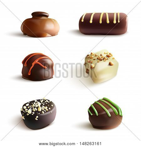 Chocolate Candies. Vector Realistic Illustration. Isolated on White