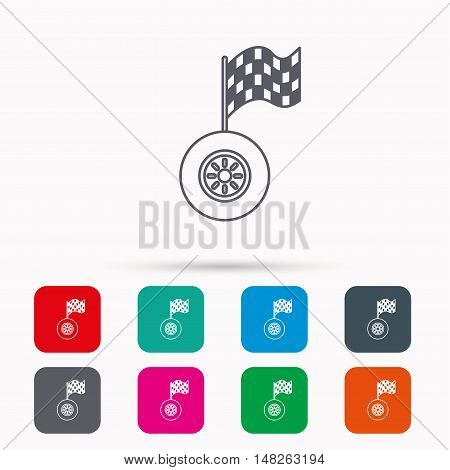 Race icon. Wheel with racing flag sign. Linear icons in squares on white background. Flat web symbols. Vector