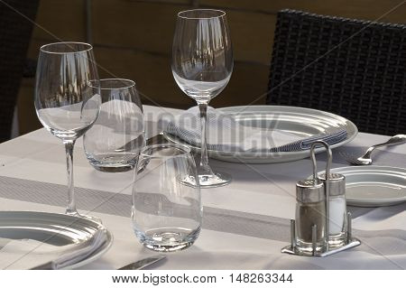 Elegant table for holding food in a restaurant