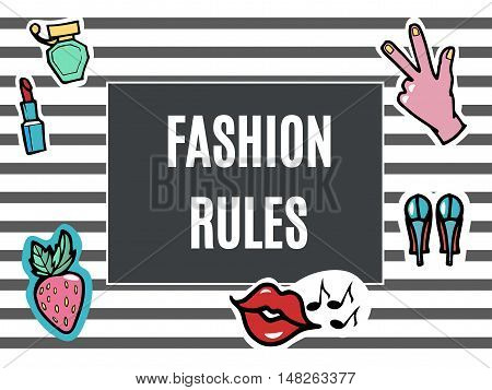 Fashion Patches Set. Fashion Rules.Modern Pop Art Stickers. Lips Hand.Strawberry. Vector Illustration.